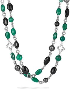 David Yurman Bead Necklace with Black Onyx Green Onyx in Green