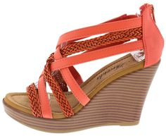 WALLIE02 CORAL BRAIDED CRISSCROSS STACKED WEDGE ONLY $10.88