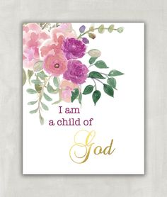 Baby girl nursery quote print, Bible verse art, Nursery wall art print, I am a child of God - Watercolor Florals with Faux Gold 8x10 Print ((unframed)). A beautiful sentiment for anyone. I am a Child of God. Makes a beautiful christening gift or birthday gift.. Size 8x10 VERY IMPORTANT! SIDE EFFECTS OF PRINTS REVEALED! Dear friend, please note that these items could seriously beautify your room, set you in a great mood, or motivate you to achieve your dreams! They may also make your…