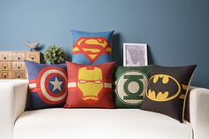 superman Batman Green Lantern Sign Mark linen cushion pillow 18X18 by Emilybeauty on Etsy