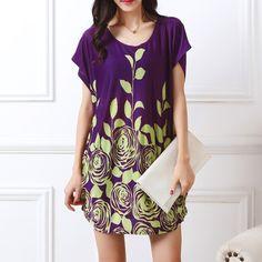 New 2017 Fashion Women short sleeve Dresses Plus Size Dress Loose Novelty Print tunic girl casual tops tunic 4xl 5xl