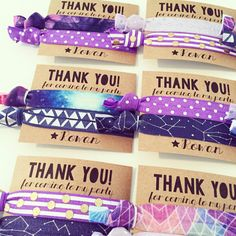 Our custom hair tie favors are a MUST for birthdays. Be the cool mom. Your daughter will love you forever, I promise. We can customize the cards and hair ties to fit ANY party theme, just leave the following info in the note section during checkout!  1. Birthday Girls Name + Age 2. Event Date/Date Needed 3. Party Theme and Color Scheme 4. Card Text 5. Hair Tie Preferences: We will make up an assortment based on your preferences, color scheme and theme. This listing includes two print hair…