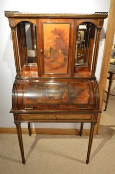 A Late 19th Century French Mahogany Vernis Martin Bureau Cabinet