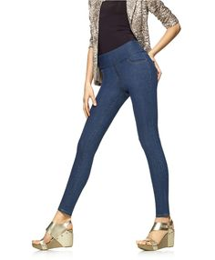 Denim Shaping Leggings with Wide Waistband