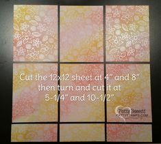 cutting guide for 12x12 paper  into 6 card fronts, featuring Irresistibly Floral…