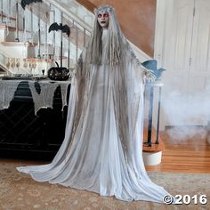 Hauntingly beautiful, this standing ghost is a vision of Halloweens long gone by. Is she a jilted bride or an eerie reminder of fading beauty? This creepy ...