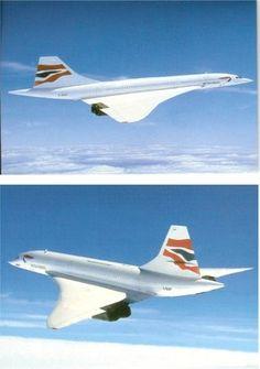 BRITISH AIRWAYS CONCORDE - 2 AIRCRAFT POSTCARDS - MINT