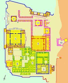 Persepolis: buildings 1 Apadana 2 Treasury 3 Darius' palace 4 Xerxes' gate 5 Stairway 6 Xerxes' palace 7 Harem 8 Hall of hundred columns 9 Hall of 32 columns 10 Tomb of Artaxerxes III 11 Unfinished gate (http://www.livius.org/pen-pg/persepolis/persepolis.html)