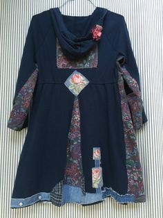 Upcycled Tattered Tunic Navy Blue and Pink by SimplyCathrineAnn
