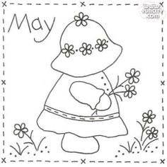 Vintage Embroidery Patterns Sunbonnet Sue BOM - May Stitchery Pattern - Month by month stitchery pattern. Make a little calendar quilt, embellish a pillowcase, decorate a shirt or sew a fabric greeting card. Embroidery Transfers, Learn Embroidery, Crewel Embroidery, Hand Embroidery Patterns, Applique Patterns, Vintage Embroidery, Quilt Patterns, Machine Embroidery, Embroidery Designs