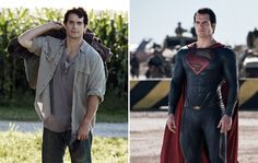 Henry Cavill in Man of Steel, as Clark Kent, left, and as Superman, right.