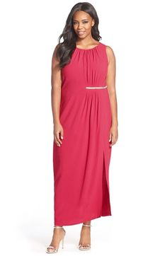 df2c44297e9 London Times Embellished Gathered Crepe Maxi Dress (Plus Size) available at   Nordstrom Column