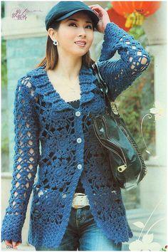 Crochet jacket — Crochet by Yana Cardigan Au Crochet, Gilet Crochet, Crochet Coat, Crochet Jacket, Crochet Cardigan, Crochet Clothes, Crochet Sweaters, Blue Sweaters, Beau Crochet