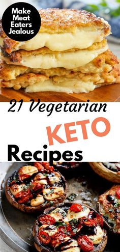 We've put together 21 keto vegetarian recipes that are sure to make all of your meat-eating friends jealous. These low carb vegetarian dishes are perfect for breakfast, lunch, and dinner. Heck, some a Vegetarian Desserts, Low Carb Vegetarian Recipes, Low Carb Desserts, Ketogenic Recipes, Low Carb Recipes, Diet Recipes, Ketogenic Diet, Chicken Recipes, Keto Chicken