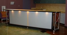 10 and 12 Foot Rolling Coffee Bar - Envisionary Images Custom Furniture, Cool Furniture, Furniture Design, Church Welcome Center, Church Foyer, Hot Cocoa Bar, Kid Desk, Cafe Tables, Bar Lighting