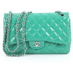 Pre-Owned Chanel Classic Double Flap Bag Quilted Patent Jumbo ($3,485) ❤ liked on Polyvore featuring bags, handbags, green, chanel purse, woven purses, chanel handbags, quilted purses and colorful purses