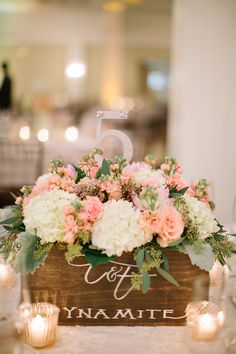 faux dynamite boxes as table number centerpieces (I like the font on the wooden box)