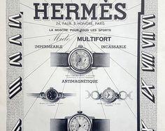 Hermes relojes vintage ad 1938 francés art deco vintage por OldMag