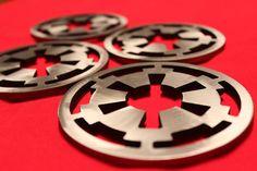 Imperial Cog Coaster Set of 4, Steel, Imperial, Droid, Stormtrooper, Biker Scout, Star Wars.