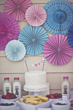 Like the pinwheels/paper poofs, but in red and blue. Above cake table