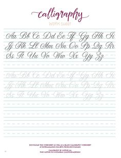 from Dote Magazine Issue 2 Spring 2015 - Live What You Love Cursive Handwriting Practice, Cursive Writing Worksheets, Handwriting Alphabet, Hand Lettering Practice, Hand Lettering Alphabet, Writing In Cursive, How To Write Cursive, Calligraphy Practice, Brush Lettering Worksheet