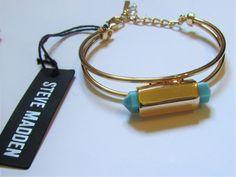 Steve Madden Turquoise & Gold Bangle Bracelet NWT #SteveMadden #Bangle