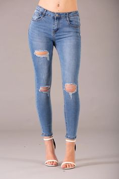 Brenda Blue Ripped Jeans – Lusty Chic Ripped Boyfriend Jeans, Blue Ripped Jeans, Skinny Fit Jeans, 1 Button, Must Haves, Legs, Chic, Elegant, How To Wear