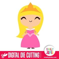Cute Sleeping Beauty Princess Aurora  - Check out this cute princess Aurora die cutting file from the classic sleeping beauty fairytale. Digital die cutting files are designed specifically with cutting machines in mind. Use them with programs such as your Silhouette, Cricut (SCAL/MTC), Pazzles, Klick-n-Kut, Wishblade or any cutting machine that can use the following file formats: SVG, PDF, and DXF....