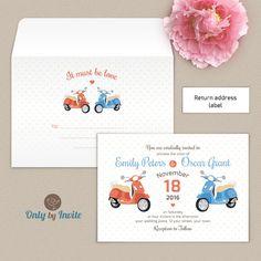 Wedding Invitations and Matching Envelopes Pack | Vespa Wedding | Wedding Envelope Printing | Printed Envelopes