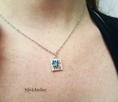 Silver necklace with embroidered pendant Ag 925, singapore chain, floral pendant, square pendant, petit point jewelry, something blue by SlivkAtelier on Etsy