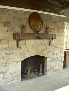 Love the rustic mantel and stone face of the fireplace - want raised hearth so people can sit in front of the fire should they so choose (exterior mantle brackets by Maynard Studios) Fireplace Redo, Faux Fireplace, Fireplace Remodel, Fireplace Surrounds, Fireplace Design, Sandstone Fireplace, Fireplace Makeovers, Fireplace Inserts, Fireplace Ideas