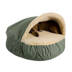 Doggie burrow bed...this is so cute! If only it would last....Dex like to destroy his beds lol