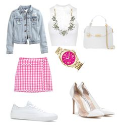 """""""Untitled #437"""" by marxendjie on Polyvore featuring Lilly Pulitzer, H&M, Topshop, Converse, Gianvito Rossi, SHOUROUK, FOSSIL and Versace"""