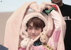 Image may contain: 1 person, sleeping and baby We Heart It, Heart Sign, Rapper, Giant Bunny, Baby Bunnies, Monsta X, Boy Groups, Baby Car Seats, Have Fun