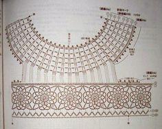Схема кружевной кокетки для платья крючком