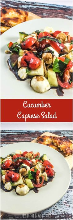 Want something fresh and flavorful, but easy to make for dinner? Have some Cucumber Caprese Salad with Balsamic Vinegar Reduction to go with your Freschetta® Pizza! Dinner can be easy to make but so flavorful! {Post Sponsored by Freschetta Easy Salad Recipes, Salad Dressing Recipes, Easy Salads, Summer Salads, Side Dish Recipes, Lunch Recipes, Cooking Recipes, Healthy Recipes, Side Dishes