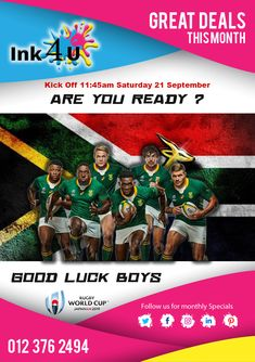 Proud Supporters of South African Rugby ! South African Rugby, Rugby World Cup, Printer, Printers