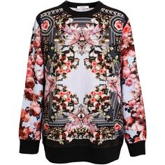 GIVENCHY Floral Printed Cotton Sweatshirt (16.198.075 IDR) ❤ liked on Polyvore featuring tops, hoodies, sweatshirts, sweaters, givenchy, floral print top, cotton sweatshirt, long sleeve tops and flower print top