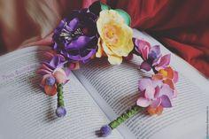 """Купить Ободок """"Алиса"""" - разноцветный, ободок с цветами, ободок с цветами купить, цветы из фоамирана"""