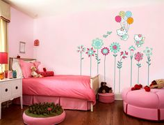 Wall decals wall stickers art flowers and hello kitty for children. $46.00, via Etsy.