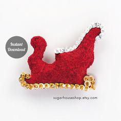 Santa's Sleigh  Individual Ornament  Felt Advent por SugarHouseShop