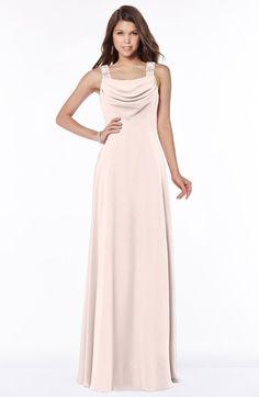 Silver Peony Elegant Wide Square Sleeveless Half Backless Chiffon Beaded Bridesmaid Dresses in color Porelain