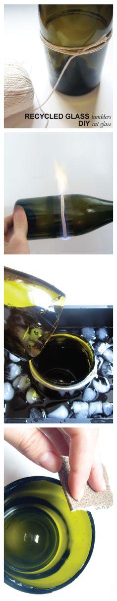 recycled glass tumbler DIY via @Jill Doran