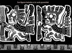 84/ HORIZON MOYEN. TIWANAKU. La porte du Soleil, décor des côtés. Les figures latérales et le socle pyramidal.