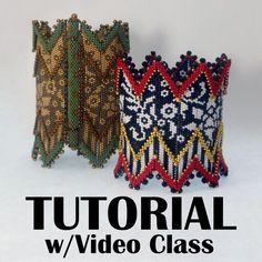 TUTORIAL SET Bracelet and Bangle versions Jacobean Floral Rick Rack with Video Classes | Mikki Ferrugiaro Designs