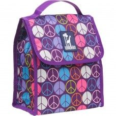 Peace Signs Purple Munch 'n Lunch Bag | Little Girl Style