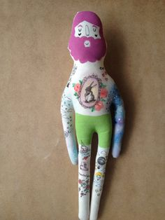 My Hipster Boyfriend Doll Hand painted art by BlueRaspberryDesigns, $85.00