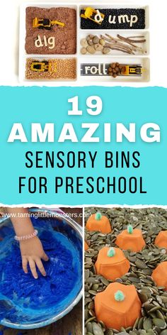 19 Amazing Sensory Bins for Preschool. Fun and easy sensory play ideas that teach preschoolers letters, numbers and more learning concepts to get them school ready. #sensory #preschool Motor Activities, Sensory Activities, Educational Activities, Activities For Kids, Sensory Bins, Sensory Play, Learning Through Play, Kids Learning, Printable Shapes