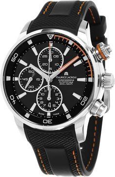 Maurice Lacroix Pontos S Chronograph Men's Black Dial Black Rubber Strap Swiss Automatic Watch PT6008-SS001-332-1