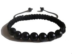#ZENstore Black Tourmaline Shamballa Handmade Bracelet with Certified Gemstones